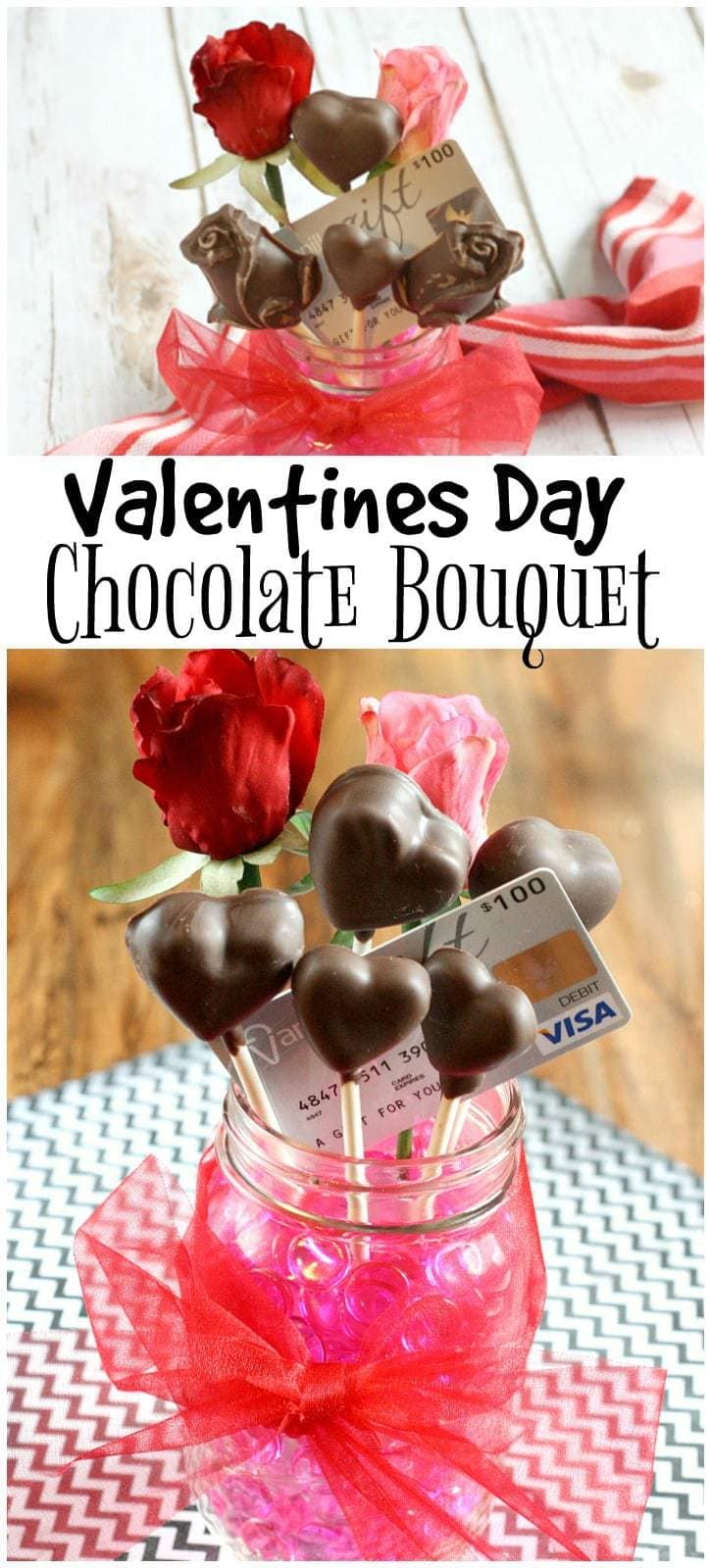This Valentines Day Chocolate Bouquet is the perfect combination of chocolate, flowers and a gift card that your sweetheart is guaranteed to adore!