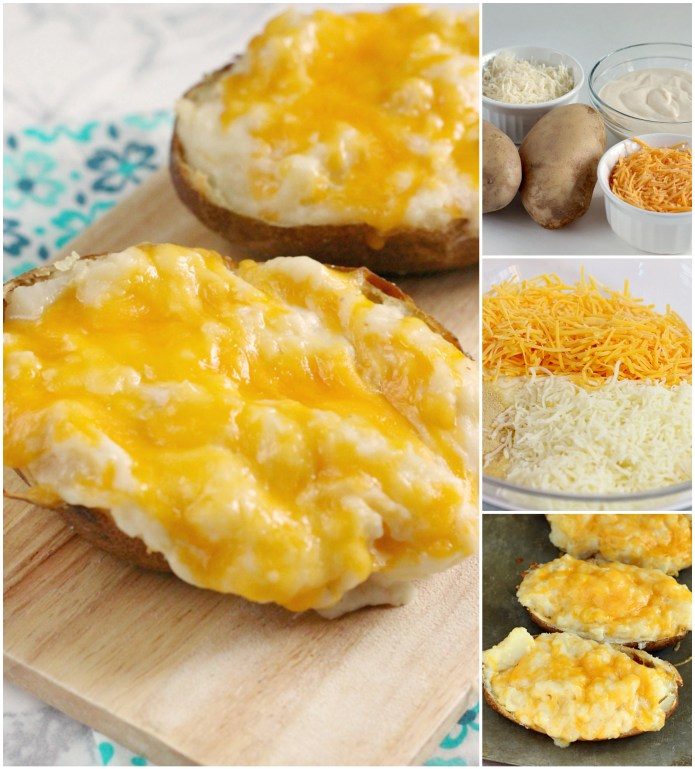 Alfredo Twice Baked Potatoes are the perfect side dish for any meal! We love baked potatoes and they are even better when you add alfredo sauce and two different kinds of cheese!