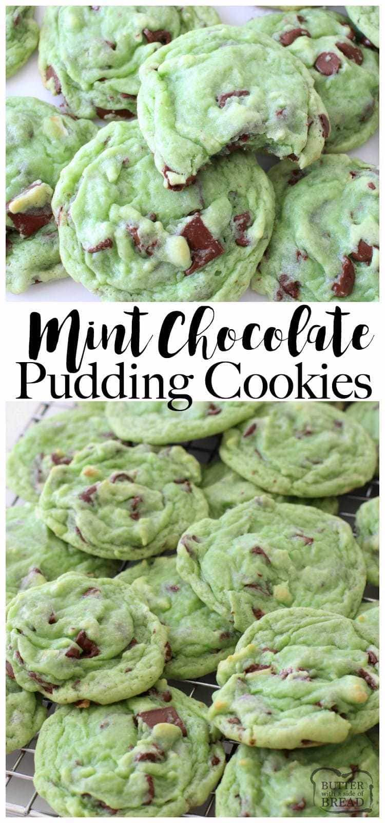 Mint Chocolate Chip Cookies made with pudding mix, mint extract & chocolate chips. Lovely mint cookie recipe perfect for those who love mint chip ice cream!