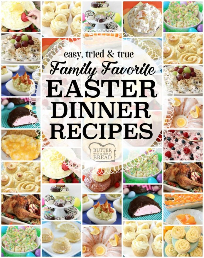 Easter Dinner Recipes: tried and true easy Easter dinner recipes with everything from slow cooker ham to Orange Cream Fruit Salad, Banana Cream Pie Cookies, Pecan Grape Salad and more. All the Easter dinner recipes you need for a delicious, festive holiday are here.