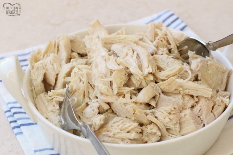 How To Make Shredded Chicken Butter With A Side Of Bread