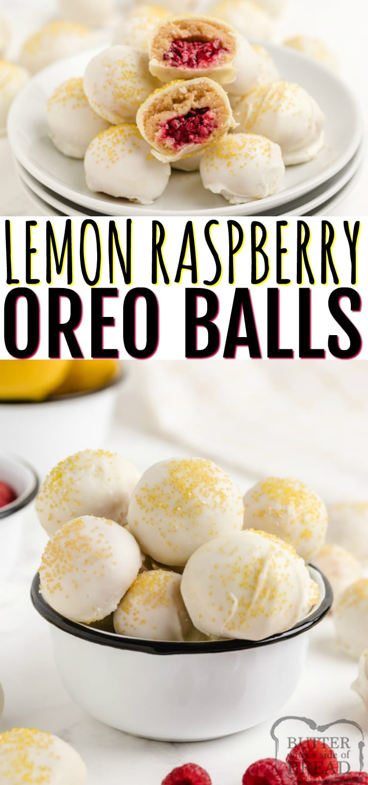 Lemon Raspberry Lemon Oreo Balls easily come together with only four ingredients and they have the most wonderful flavor! Bite-sized, no bake dessert made with Lemon Oreos and fresh raspberries!