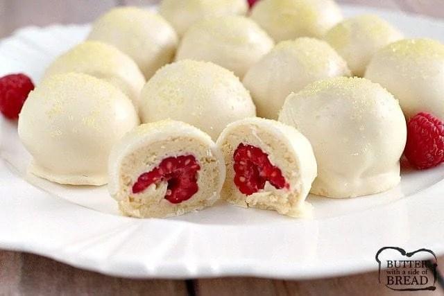 Easy Lemon Raspberry Truffles - Butter With a Side of Bread