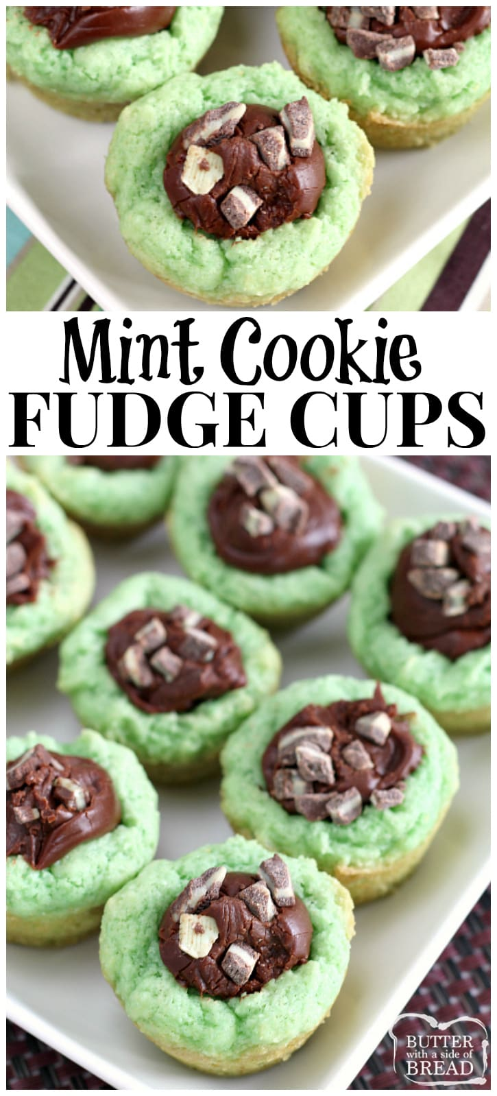 Soft, sweet mint cookie filled with a simple fudge recipe that is insanely delicious! Easy dessert from Butter With A Side of Bread