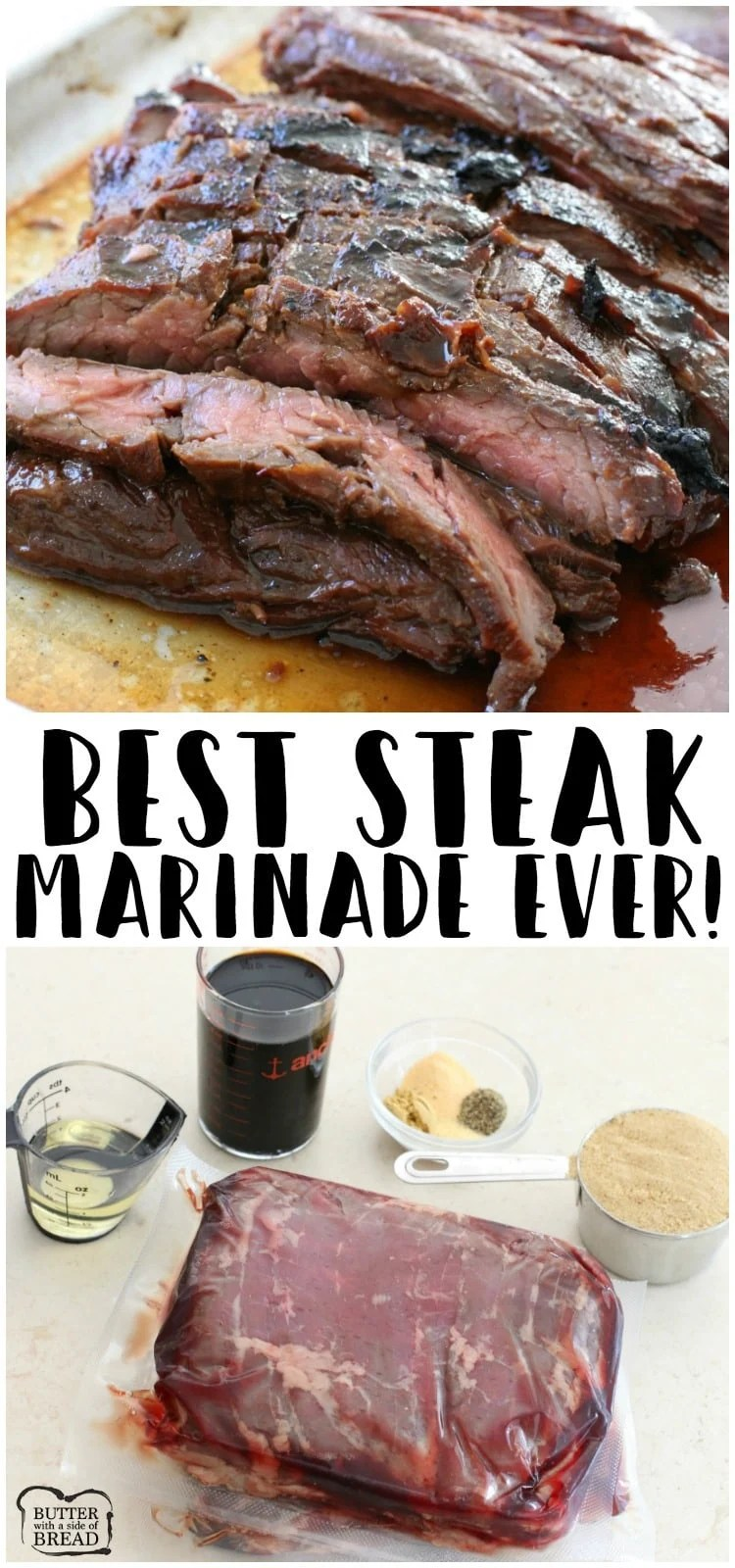 Steak marinade for the best steak of your life! Made with soy sauce, brown sugar, olive oil, ginger and garlic; you'll never taste a better steak marinade! Comes together in minutes and you won't believe the incredible flavor! Easy steak marinade recipe from Butter With A Side of Bread