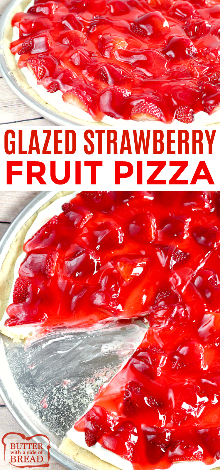 Glazed Strawberry Fruit Pizza is made with a sugar cookie crust that is topped with a cream cheese layer, fresh strawberries and a delicious strawberry glaze! This fruit pizza recipe is so easy to make by using pre-made sugar cookie dough and the glaze is made with strawberry jello and a few other basic ingredients.