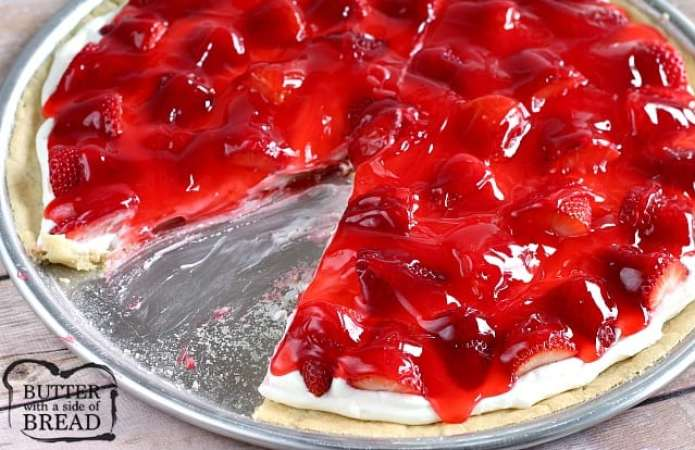 Glazed Strawberry Cookie Dessert Pizza