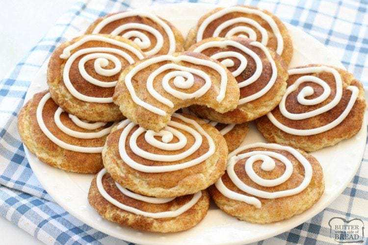 29063822c6 Snickerdoodle cookies are a huge favorite at our house! I tweaked my best  recipe just slightly and made this cinnamon roll version and everyone went  crazy.