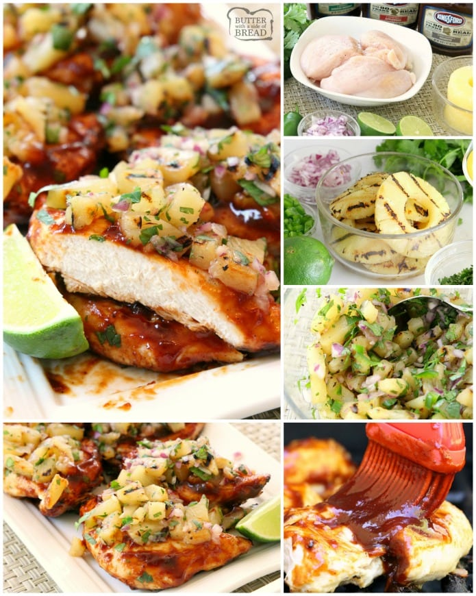 Grilled BBQ Chicken with Pineapple Salsa is made by smothering grilled chicken with thick & flavorful bbq sauce then topping it with a delicious pineapple salsa. Perfect for weeknight dinners or weekend get-togethers, the pineapple salsa pairs perfectly with the tangy grilled barbecue chicken.