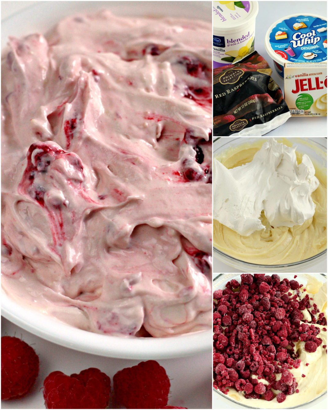 Raspberry Vanilla Jello Salad Butter With A Side Of Bread