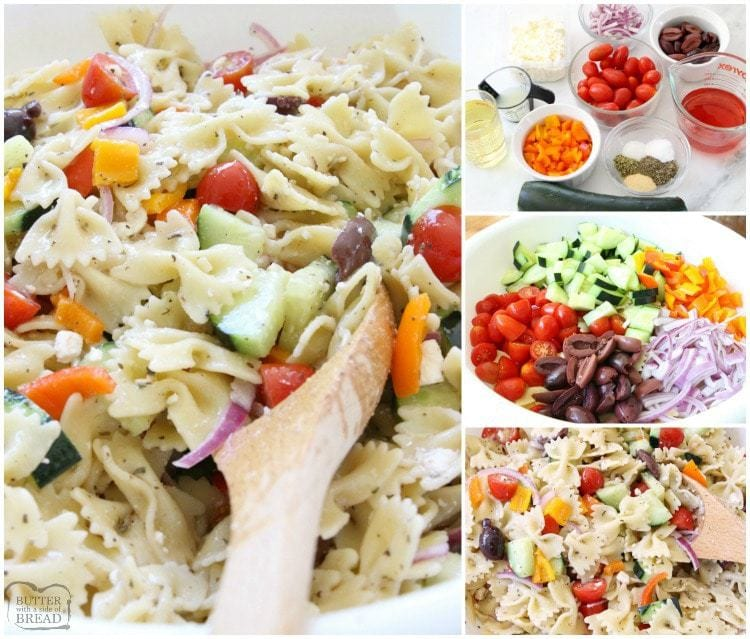 Greek Pasta Salad is fresh, flavorful and simple to put together. It's the perfect side dish! Loaded with vegetables and drizzled with a homemade lemon greek vinaigrette, it's easy to make and everyone enjoys it. Perfect topped with crumbled feta cheese and a few additional olives.