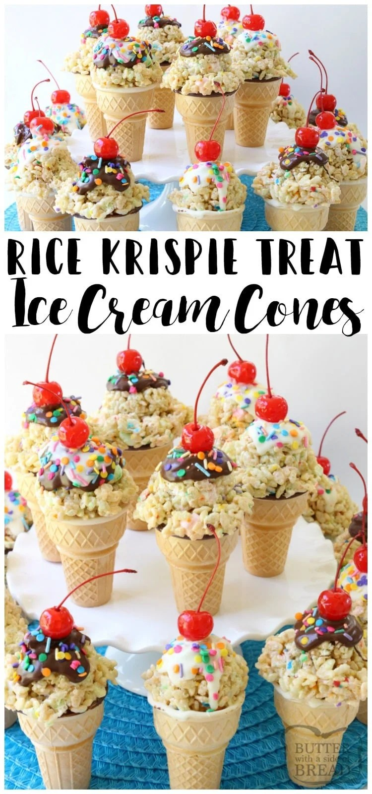 Rice Krispie Ice Cream Cones are easy to make & super cute too! Gooey marshmallow treats topped with melted chocolate, sprinkles & a cherry make these cute cones amazing. Bonus too- they each have a special treat inside the cone! Easy dessert recipe from Butter With A Side of Bread