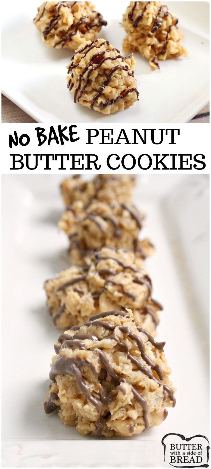 No-Bake Peanut Butter Cookies are crunchy, sweet and full of flavor. They only take a few minutes start to finish to make and EVERYONE loves them! Easy no-bake cookie recipe from Butter With A Side of Bread