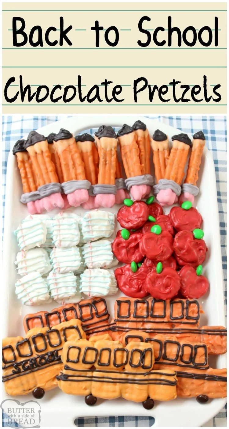Back to School Pretzels made with chocolate and decorated to look like paper, apples, pencils and a school bus! Super cute treat to get everyone excited for school.