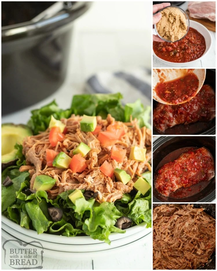 Easy Slow Cooker Sweet Pork requires just 3 ingredients and a slow cooker! Perfect crock pot pork recipe that only takes a few minutes of prep. Serve in tortillas, on a salad, or as a sandwich!