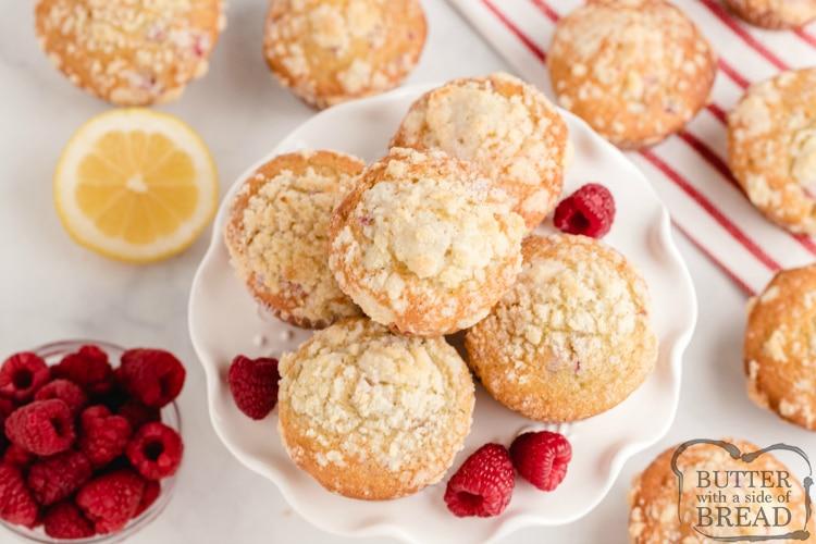 Lemon muffins with fresh raspberries