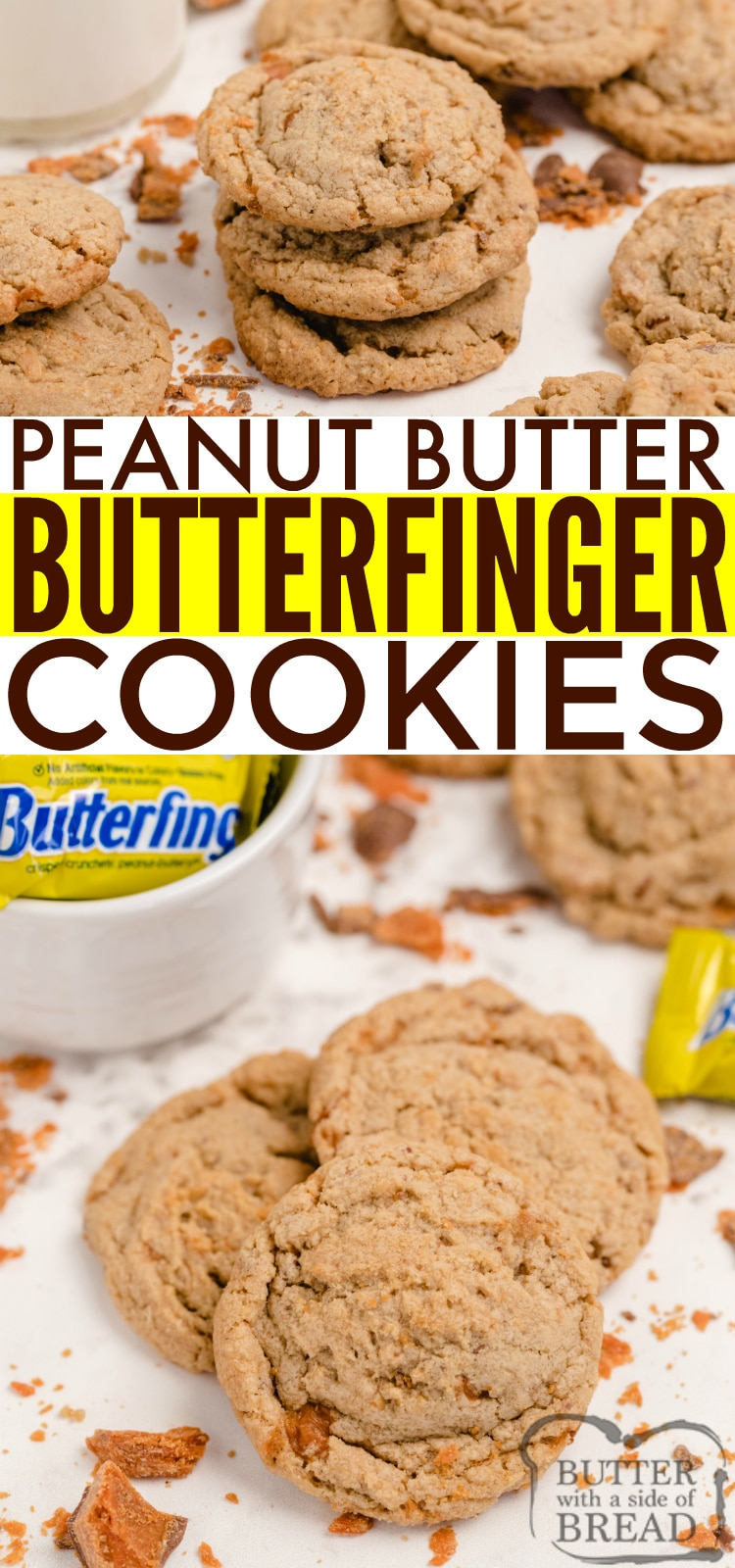 Peanut Butter Butterfinger Cookies are amazingly soft, chewy and full of crunchy peanut butter and chunks of Butterfinger candy bars!