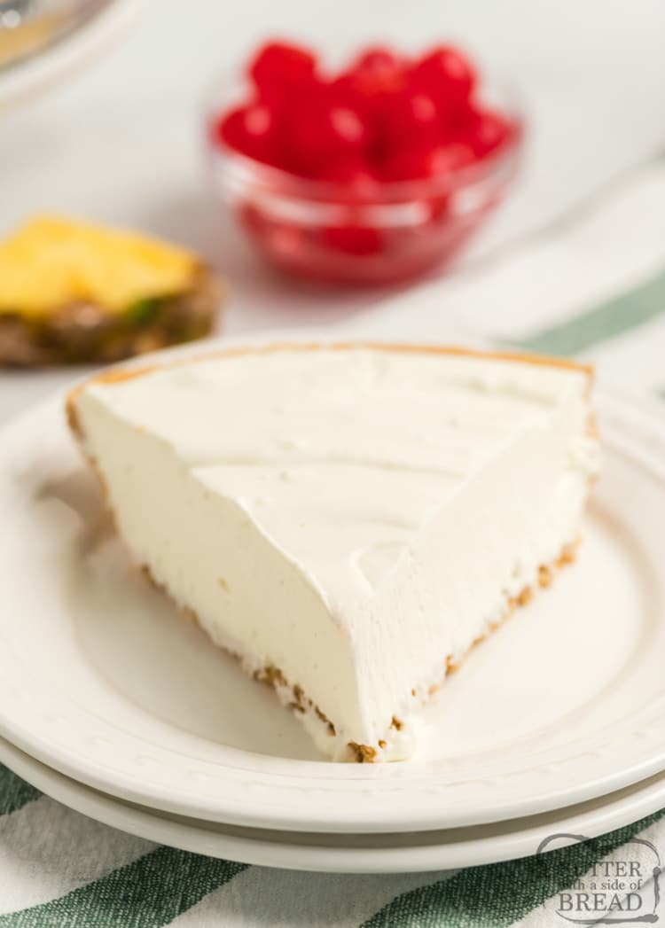 Easy Pina Colada Pie is a no bake dessert with only 4 ingredients! Everyone loves the fun tropical flavors of this simple, chilled pie recipe that only takes a few minutes to make!