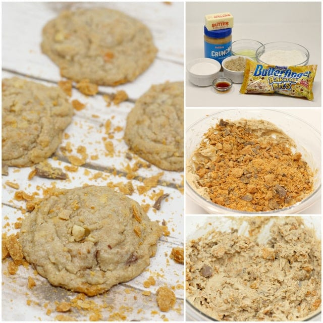 Peanut Butter Butterfinger Cookies are amazingly soft and chewy and full of crunchy peanut butter and chunks of Butterfinger candy bars!