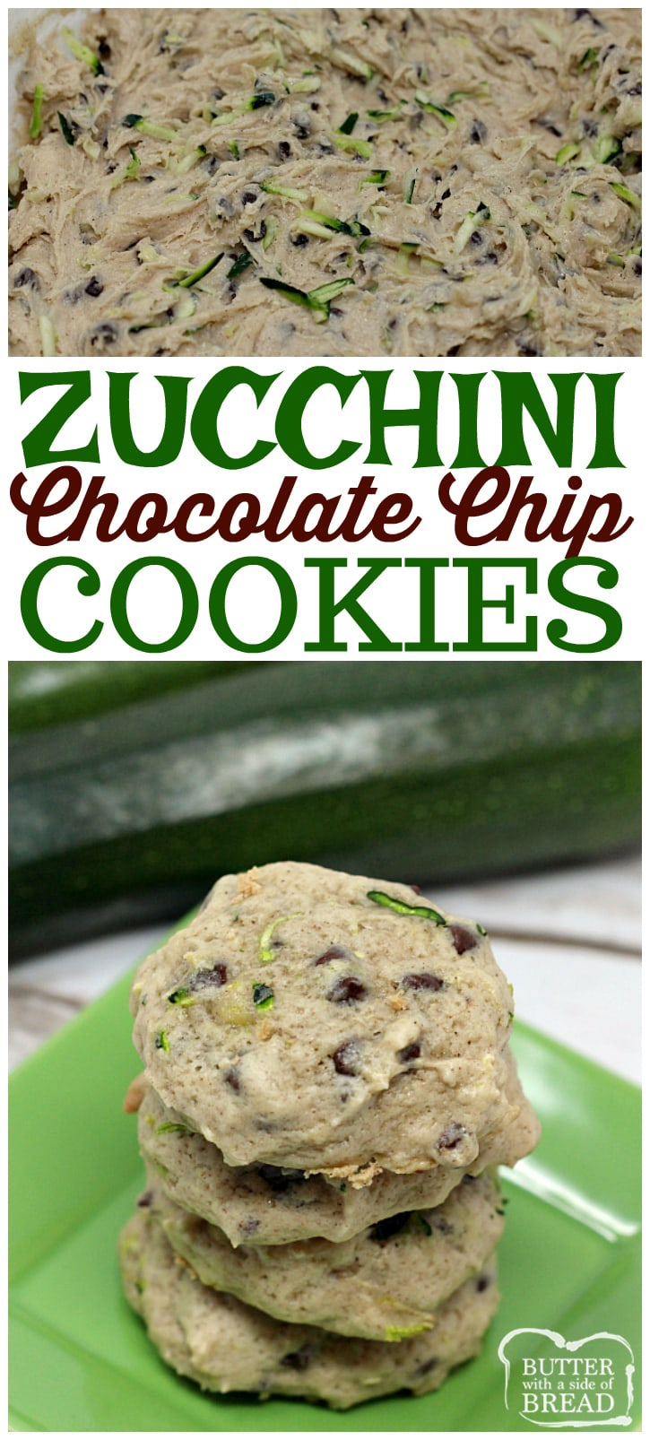 Zucchini Chocolate Chip Cookies are so soft and yummy, plus this is a delicious way to sneak in some veggies and use up all the #zucchini from your garden! Easy #cookie recipe from Butter With A Side of Bread