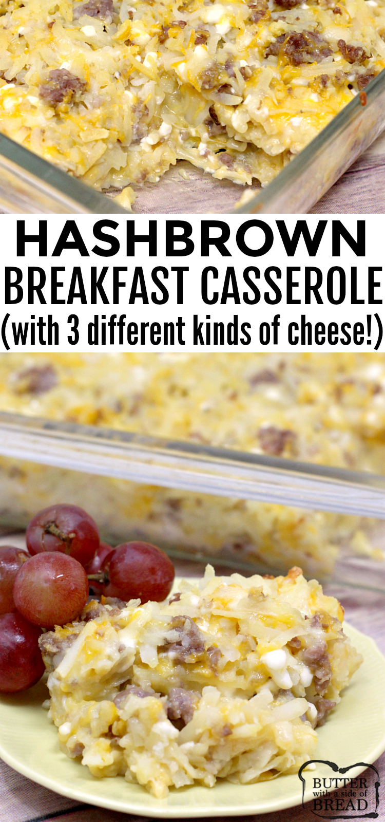 Cheesy Hashbrown Breakfast Casserolecombines cheddar, Swiss and cottage cheesealong with hash browns and your favorite breakfast meat!