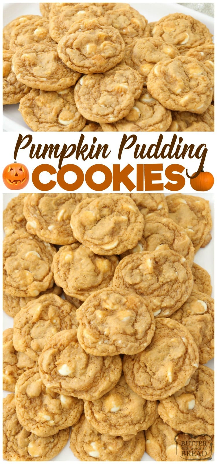 Pumpkin Pudding Cookies are soft, sweet & pumpkin spiced with pudding mix for the best flavor & texture. Easiest #pumpkin #cookies ever from Butter With A Side of Bread