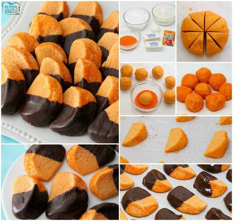 Chocolate Orange Cookies mimic orange slices dipped in chocolate. Bright, tangy citrusy flavor comes from orange Kool-Aid mix baked into the cookies!