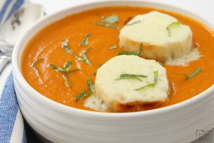 French Onion Tomato Soup combines two favorites in an easy to make, delicious homemade soup. Fire roasted tomatoes, sweet onion, butter and broth blend together in this incredible soup.