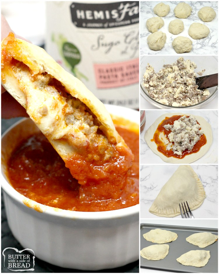 Cheesy Italian Sausage Calzones are made with a homemade pizza crust that is filled with parmesan, mozzarella, ricotta, marinara sauce and Italian sausage. These homemade calzones can be filled with any of your favorite meats and vegetables.
