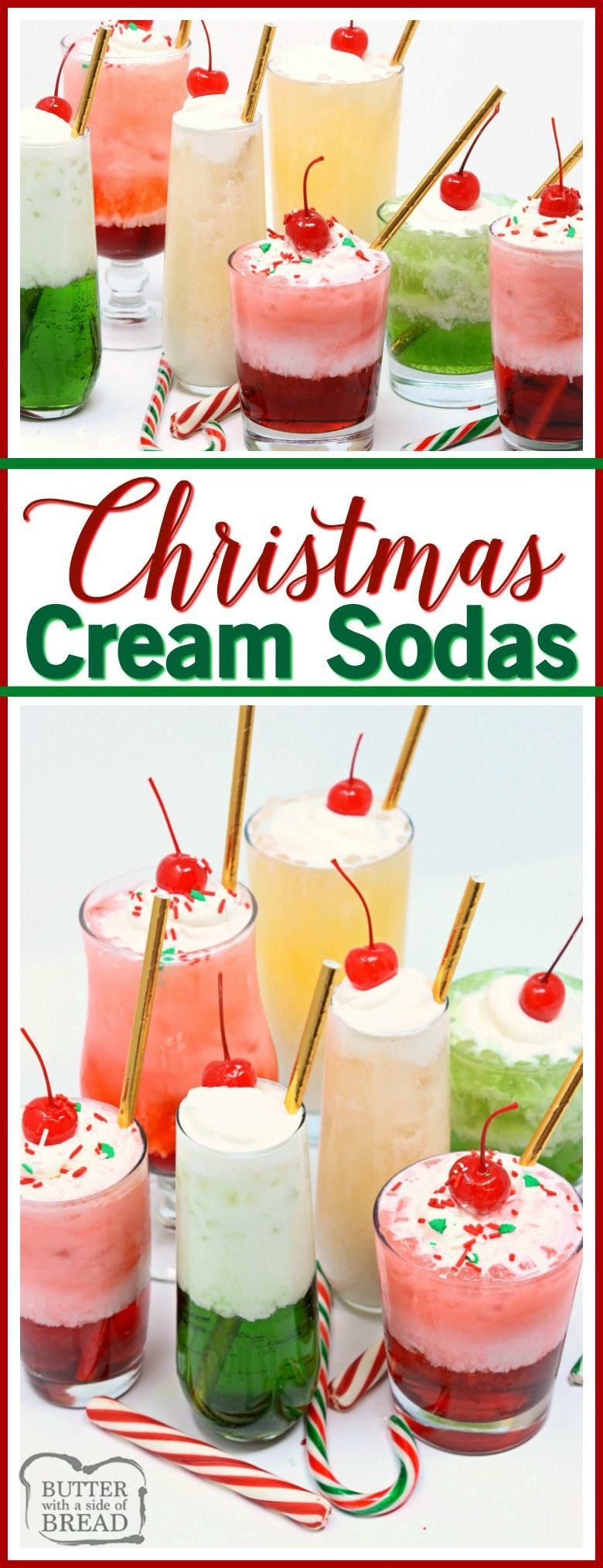 Christmas Cream Sodas made with sweet syrups, cream & club soda are a delicious & festive addition to any holiday party! Delicious mocktail that's so easy! Perfect #Christmas #drink #recipe from Butter With A Side of Bread #beverage #mocktail #holidays