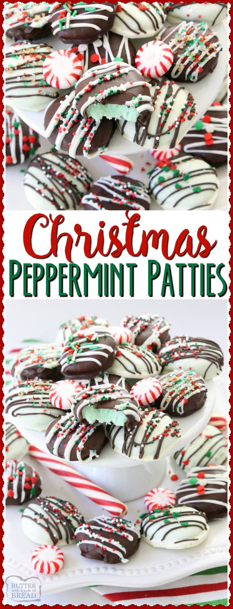 Christmas Peppermint Patties made easy with few ingredients! Perfect fun & festive dessert for holiday parties & gifts. They taste so much better homemade! Easy #peppermint #candy #chocolate #Christmas #holiday #recipe from Butter With A Side of Bread