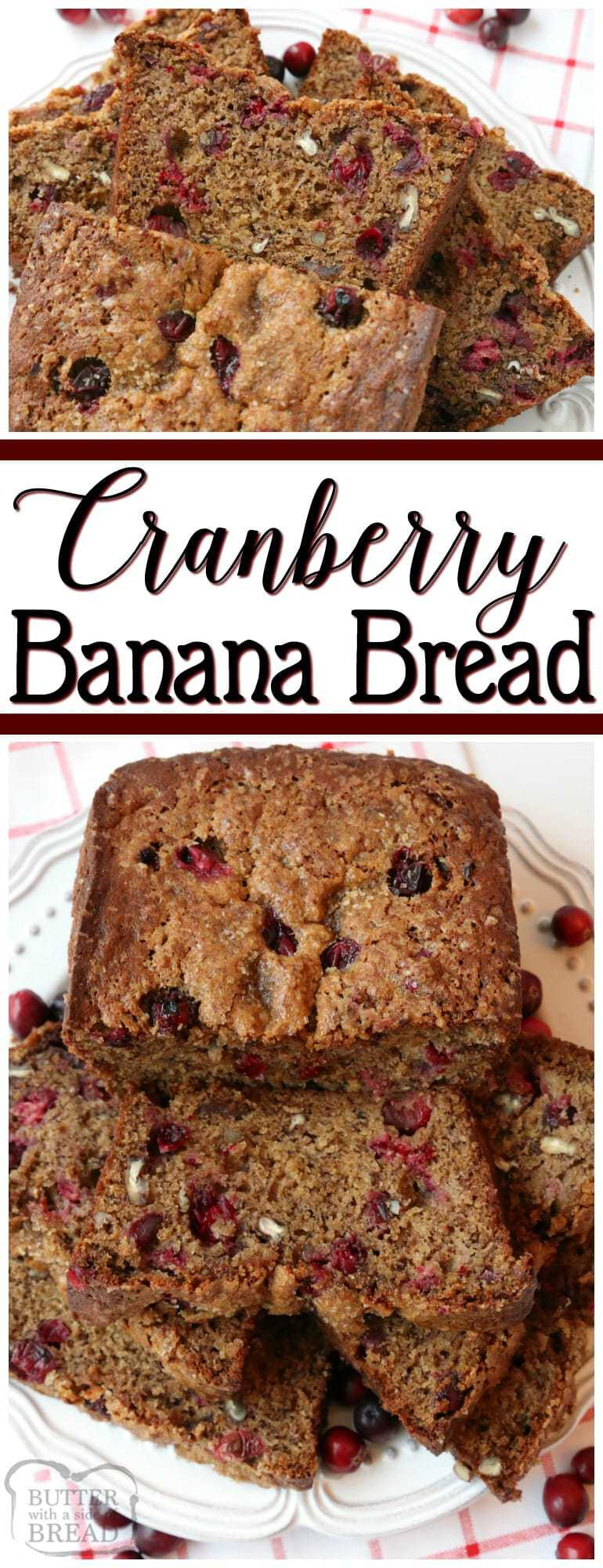 Cranberry Banana Bread is made with flavorful fresh cranberries, sweet ripe bananas, cinnamon & nutmeg to make this fantastic take on traditional banana bread recipe.
