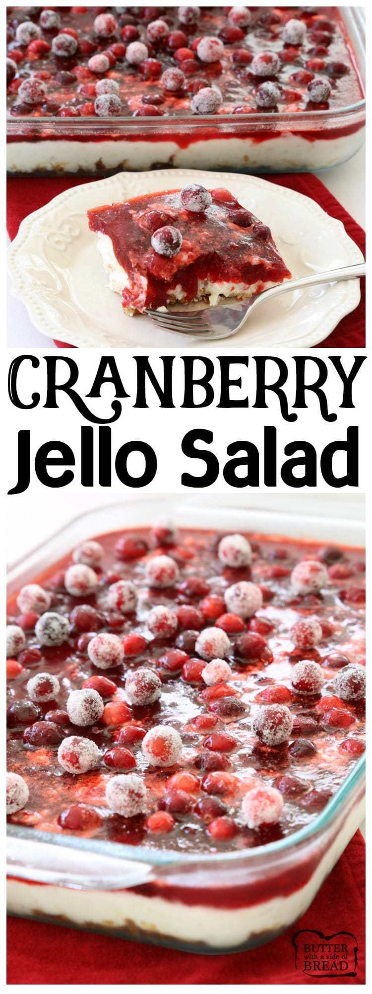Cranberry Jello Salad made with 3 festive, delicious layers of pretzels, pudding, cranberries & Jello! Impressive, easy cranberry recipe to add to your holiday meal.