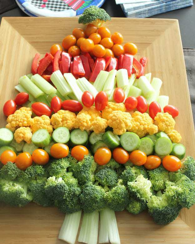 Christmas Tree Veggie Tray.Festive Christmas Veggie Trays Platters Butter With A