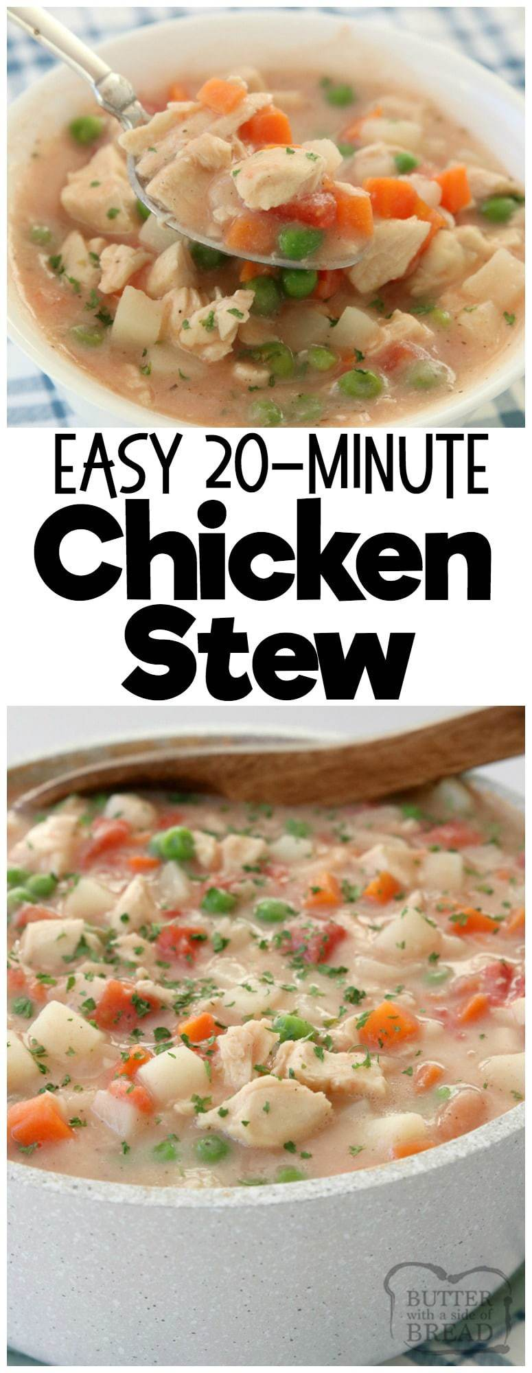 20-Minute Chicken Stew recipe, perfect for busy nights! Hearty stew with tender chicken & vegetables that comes together fast and tastes wonderful.
