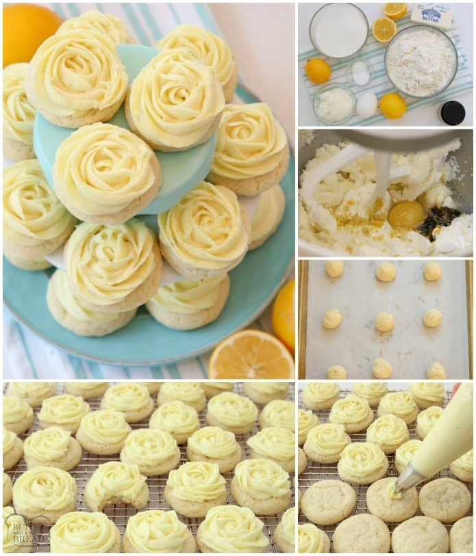 How to make Lemon Sugar Cookies with no chilling or rolling out the dough. Topped with Lemon Buttercream Frosting.