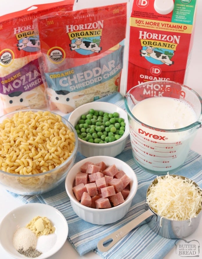 Macaroni and Cheese with Ham and Peas is a great weeknight family dinner! Creamy Homemade Macaroni and Cheese with two types of cheese made on the stove or in the Instant Pot. We added ham and peas to round out the meal!