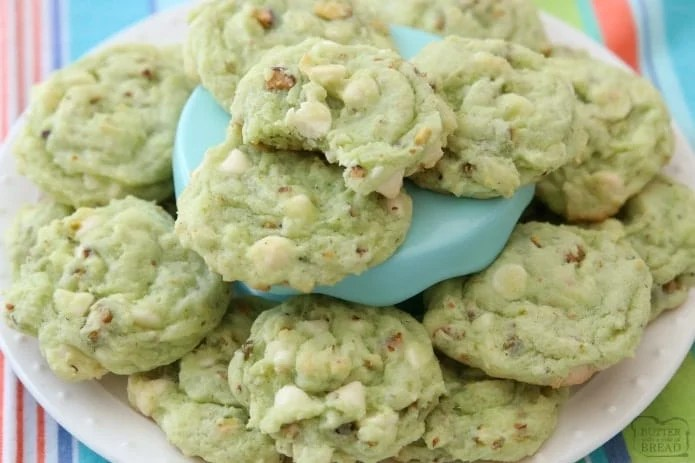 Chewy Pistachio Cookies are made by adding pistachio pudding mix to a buttery, homemade cookie dough and then adding white chocolate chips and plenty of chopped pistachios! Soft, sweet pistachio flavored cookies with amazing flavor and texture.
