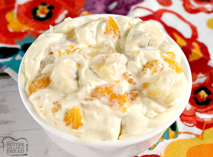 Orange Cream Fruit Salad is a lovely fruit salad filled with oranges, pineapple and bananas with a sweet orange cream mixed in! Perfect to go alongside Easter dinner!