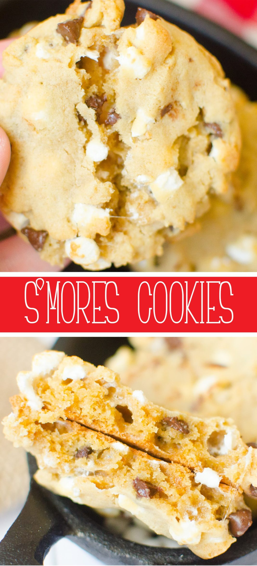 S'mores Cookies will take you right to the campfire! Graham Cracker crumbs, marshmallow bits, chocolate chips with just enough dough to hold it all together. You'll have S'mores right from your oven!