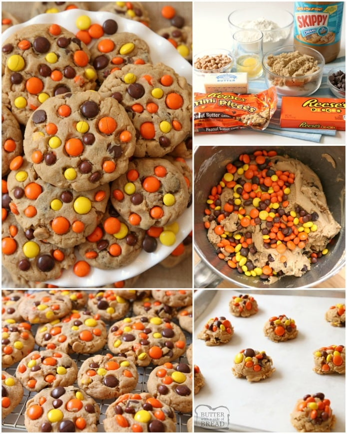 Best Ever Reese's Peanut Butter Cookies recipe made with a full cup of peanut butter! We added chocolate chips plus peanut butter chips & Reese's Pieces to our favorite peanut butter cookie recipe to get the ULTIMATE chocolate peanut butter cookies!
