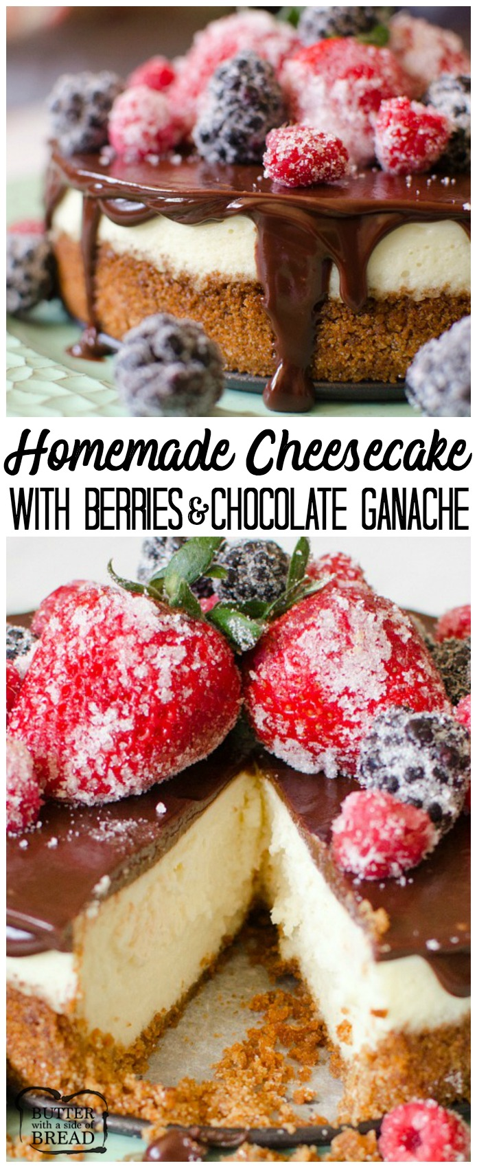 Cheesecake with Berries & Chocolate Ganache is a creamy, homemade, six-inch cheesecake topped with a rich chocolate ganache. The Cheesecake is garnished with sugared berries that give this classic dessert a bright, fresh flavor.