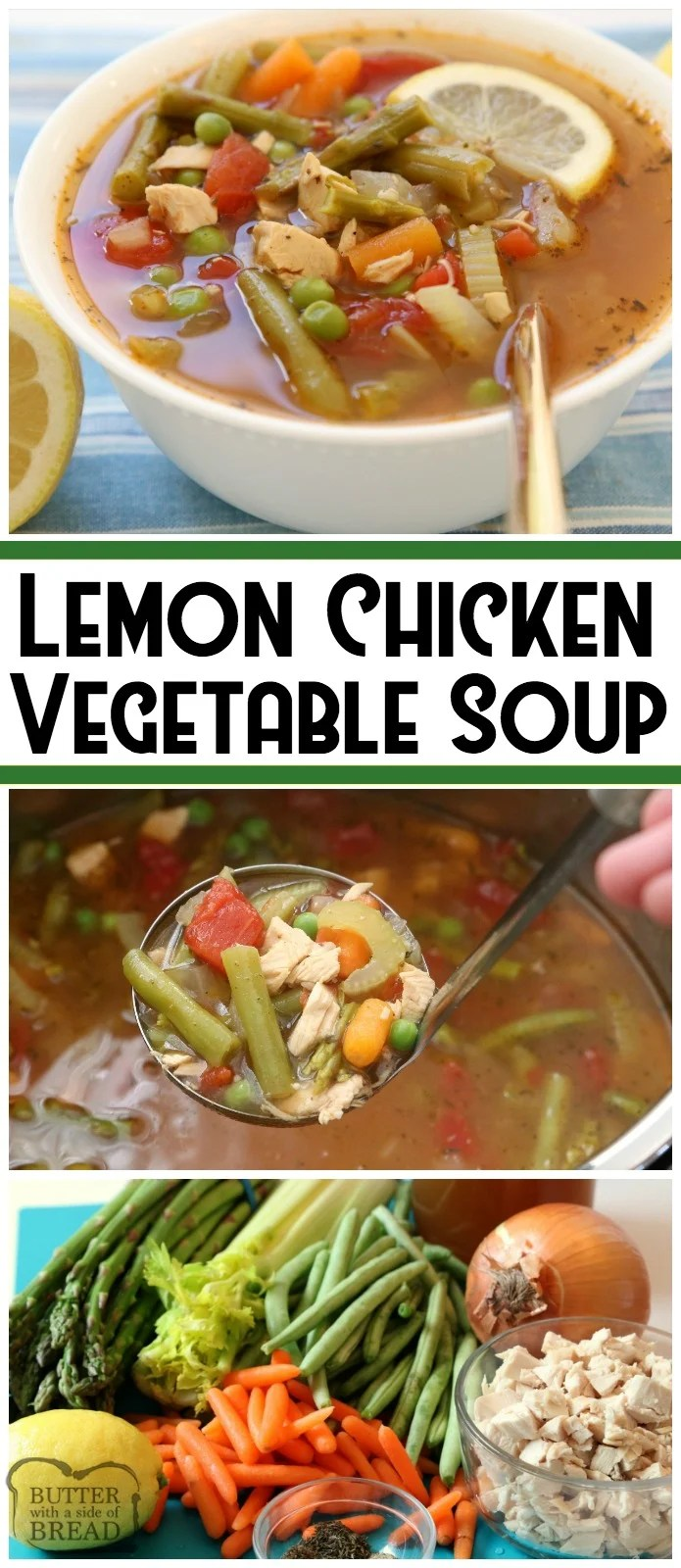 Lemon Chicken Vegetable Soup is a light & delicious broth-based vegetable soup recipe with the addition of tender chicken and fresh lemon. Chocked full of fresh vegetables like green beans, asparagus, carrots and tomatoes. Perfect for the cool days of early Spring, or anytime really! Easy #Lemon #chicken #vegetable #soup #recipe from Butter With A Side of Bread #instantpot #food #dinner #healthy