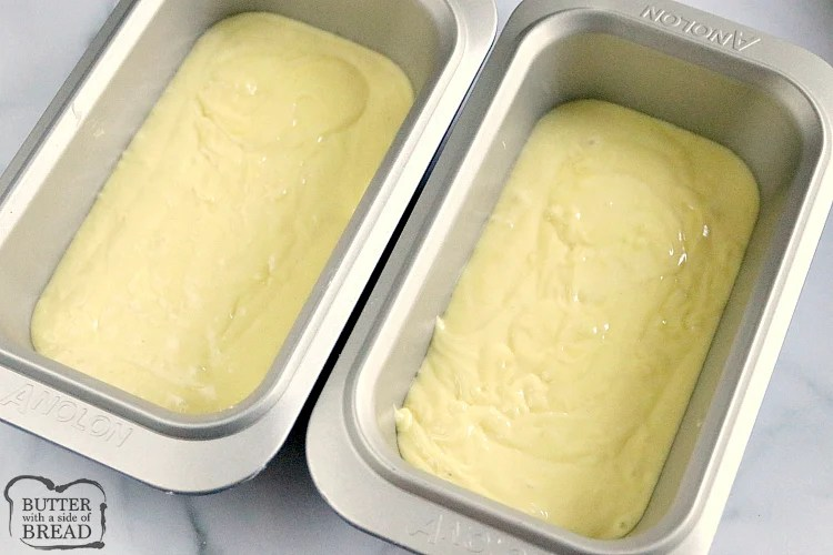 Lemon bread batter in bread pans
