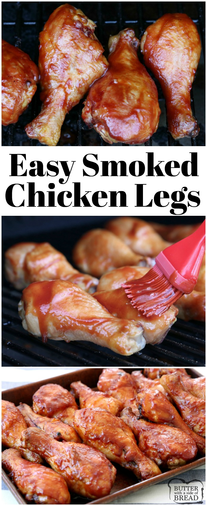 Easy Smoked Chicken Legs made with just a few simple ingredients in 2 hours. Simple recipe for smoking chicken drumsticks during your next BBQ. Perfect recipe to start learning how to use your electric smoker! #chicken #chickenlegs #traeger #smoke #smoker #dinner #grill #food