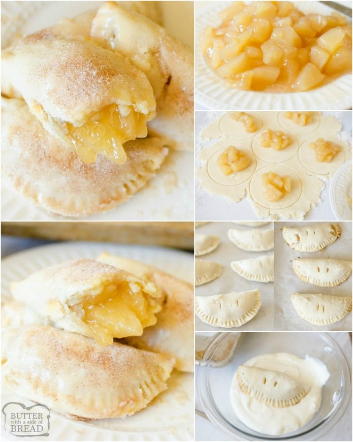 Apple Hand Pies are mini apple pies, no utensils needed! All the flakey crust and cinnamon apples wrapped up in a vanilla glaze held right in the palm of your hand. This will be the easiest, tastiest Hand Pie recipe you'll find!