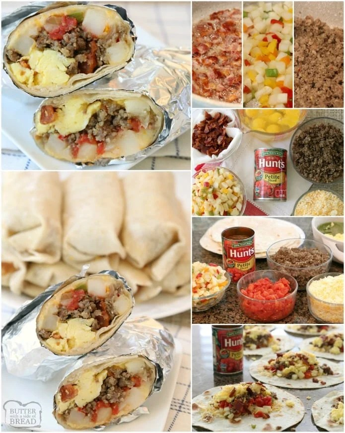 Loaded Breakfast Burrito recipe made with eggs, tomatoes, cheese, hash browns, sausage, bacon and more! Cook and assemble, then eat for breakfast or dinner and freeze the rest!
