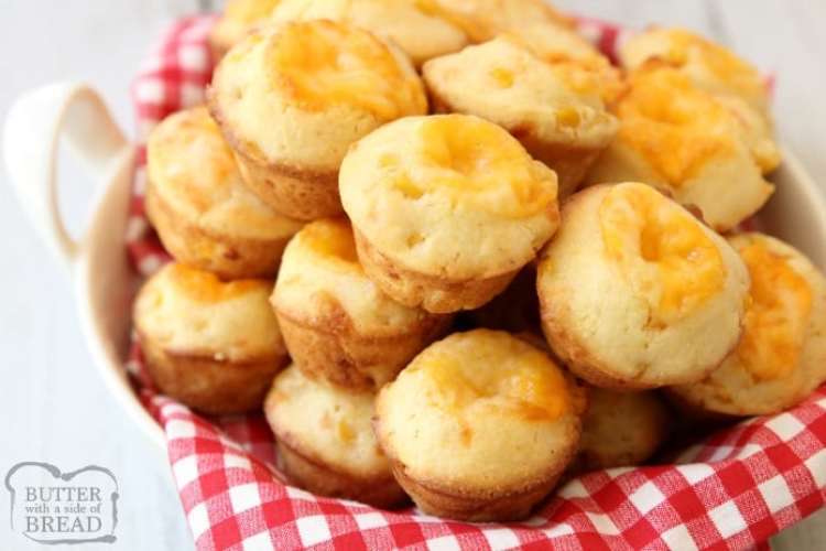 Cheesy Cornbread Muffins are delicate, flavorful honey cornbread with a cheddar cheese addition! Fun, bite-sized mini cornbread muffins are perfect for accompanying lunch or dinner any time of the year!