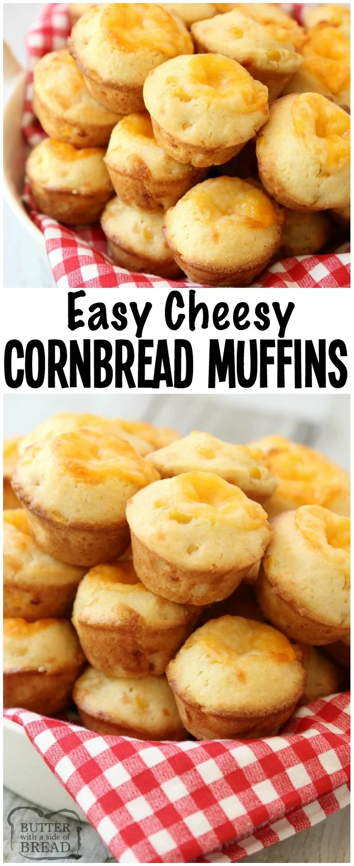 Cheesy Cornbread Muffins are delicate, flavorful honey cornbread with a cheddar cheese addition! Fun, bite-sized mini cornbread muffins are perfect for accompanying lunch or dinner any time of the year! #cornbread #muffin #recipe #cheese from BUTTER WITH A SIDE OF BREAD