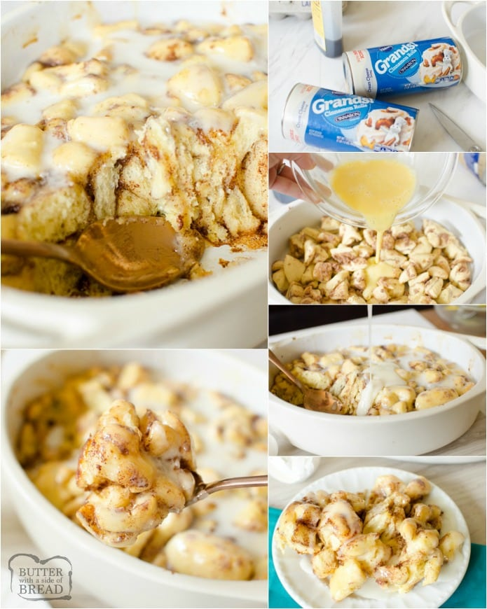 Cinnamon Roll French Toast Casserole is a quick, easy breakfast that everyone loves!  This baked French Toast bake is perfect for brunch or holidays. Refrigerated cinnamon rolls make this recipe easier than ever!